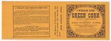 J Winslow Jones Green Corn, can label, Portland Maine