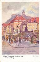 AK aus Graz, Hauptplatz mit Blick auf den Schlossberg, Steiermark  (C42)