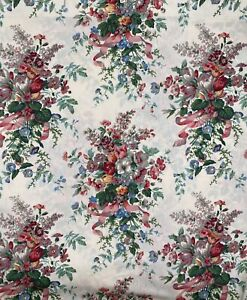 EUC Vintage Pre-Owned Croscill English Garden Floral Shower Curtain with Ribbons