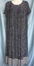 NWT AGB 16 Black White Polka Dot Circle Print Pleated Bodice Knit DRESS Pullover