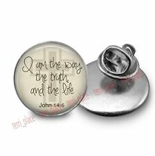 Bible Quote John 14:6 Tie Tack Brooch Pin 20m Glass Dome Religious Jewelry