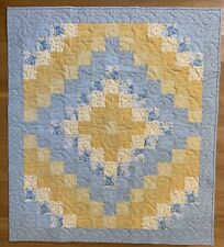Handmade Blue, Soft Yellow, And Gold Baby Boy's Quilt, 37� X 41 1/2�