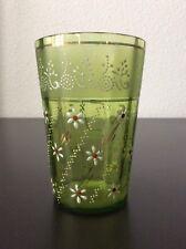Gobelet verre à eau en verre soufflé coloré émaillé et doré début XXème