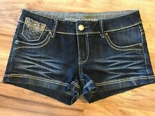 Mossimo Supply Co Junior Womens  Denim Blue Jean Short Shorts Thick Stitch Nice