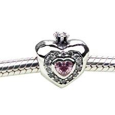 Crown heart love s925 silver charm dangle pendant for European bracelet bangle