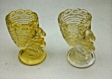 Pair of Vintage Pressed Glass Bunny Egg Cups - Yellow
