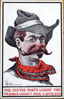 1912 Wall/Artist-Signed Postcard: Cowboy/Western - Ullman Mfg. Co.
