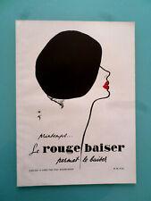 publicité ancienne LE PARFUM LE ROUGE BAISER ( illustrateur gruau ) (WX1)