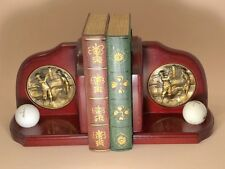 Pair of Hardwood Golfer Book Ends with Golf Brass Emblem and Golf Ball Display