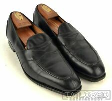 RALPH LAUREN PURPLE LABEL Edward Green Black Leather Penny Loafer Shoes - 9.5