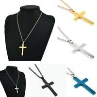 Vintage Retro Men's Titanium Steel Cross Charm Pendant Chain Necklace Jewelry L7