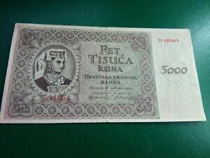 CROATIA - 5000 KUNA 1943 - LARGE  BANKNOTES