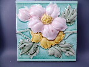 Antique Art Nouveau Majolica Tile  19th Embossed England