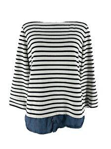 Market Spruce Stitch Fix Women's White Striped 3/4 Sleeve Blouse Size Medium