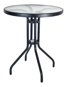 Garden Patio Bistro Table Outdoor Black Metal Table & Rippled Glass Coffee Table