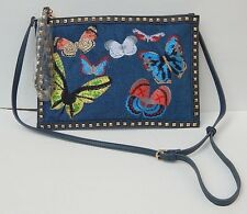 URBAN EXPRESSIONS DENIM EMBROIDERED STUDDED CLUTCH BAG PURSE 100% AUTHENTIC NEW