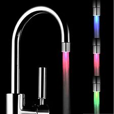 LED Water Faucet Light Colorful Glow Shower Stream Tap Round Connector Adaptor