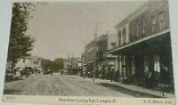 Antique Vintage  Post Card c. 1908 Main Street Lexington, Illinois Horse Buggy