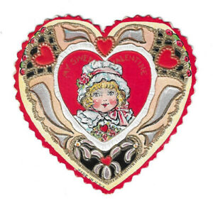 Vintage Die Cut and Embossed Heart Shaped Valentine Card My Sweet Valentine Girl