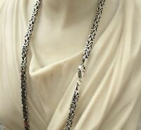 Mens Box Viking Byzantine Chains Necklace 3mm 925 Sterling Silver 33GR 24Inch