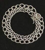 "Vintage Sterling Silver Double Chain Charm Bracelet 7.5"" 31.3 Grams"