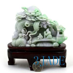 A Grade Natural Jadeite Jade Carving Reclusive Life Statue Sculpture w/certifica