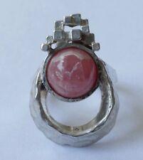 Designer Ring Rhodochrosit Balle Argent Martelée Vintage 70er Anneau Silver