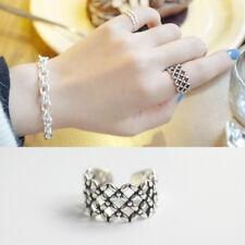 Damen Ring Netz echt Sterlingsilber 925 Ausgehöhlt Kleeblatt antik optik breit