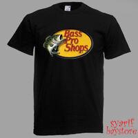 Bass Pro Shops Fishing Logo Men's Black T-Shirt Size S M L XL 2XL 3XL