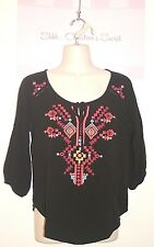 MAURICES ~ Black Rayon Hand Embroidered Tunic/Peasant Sz S * VERY GOOD COND.