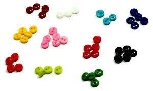 50 Mini kleine runde Knöpfe in verschiedenen Farben 5mm - 6mm Sondergröße Kinder
