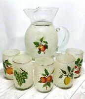 Vintage West Virginia Glass Frosted Glazed Fruit Motif Pitcher & 5 Juice Glasses
