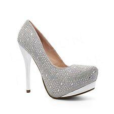 Womens Diamante Court Shoes Pumps Ladies High Heel Platform Party Prom UK 3-8