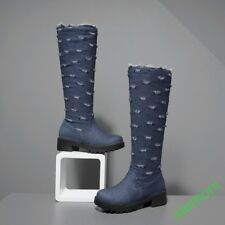 Women Large All UK Size Zip Boot Denim Velet Warm Winter Party Clubwear Platform