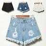 UK Vintage Ripped Womens High Waist Stonewash Denim Shorts Jeans Hot Pants 6-22