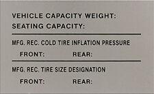 Vintage FERRARI Tire & Weight Data Label