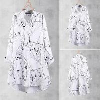 ZANZEA Women Long Sleeve Buttons Down Shirt Tops Ink Print Asymmetrical Blouse