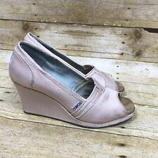 5542ab48c65d TOMS Women s 8 Petal Grosgrain Light Pink Wedges Shoes Sandal Open Peep Toe