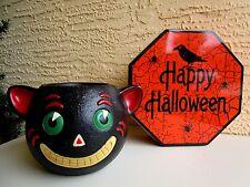 Large Dept 56 Halloween Black Smiling Cat Rare Candleholder