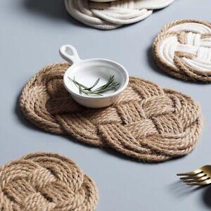 Handmade Woven Cotton Thread Jute Table Mat Non-Slip Dining Table Place Mats
