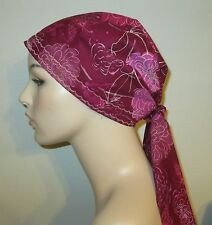 Chemo Hat Pink & Burgundy Peonies Cancer Hat Alopecia Hair Cover Pre-Tied Scarf
