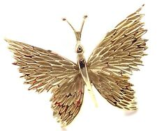 Authentic! Tiffany & Co 18k Yellow Gold Butterfly Pin Brooch