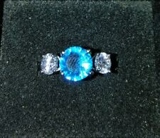 Woman's Fashion Ring Size 7 Three Stone Ring Blue Center Stone w/ CZ Accents