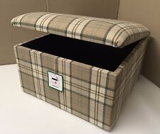 """Footstool With Storage In A Beige And Cream Tartan Fabric Size 20""""x 20""""x 14"""""""