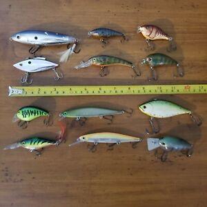 Bass Fishing Lures Lot of 12 crankbaits wakebaits rapala Livingston bomber