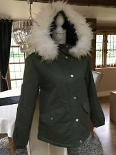PRIMARK KHAKI MOD PARKA FUR HOODED PARKLIFE QUILTED JACKET COAT BNWT XS 6 8 BNWT