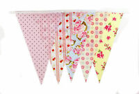 Bunting 20 Flags Pastel Shabby Chic 10Mt 32ft Flag Red Pink Green Vintage Retro