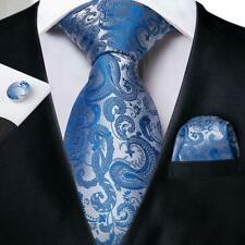 USA Sky Blue Silk Tie Set Paisley Mens Necktie Pocket Square Cufflinks Wedding