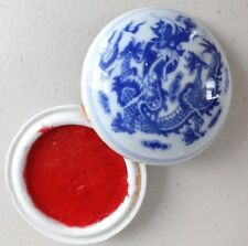CHINESE 7cm RED COLOR SUMI INK PASTE DRAGON BRUSH WRITING PAINTING JAPANESE BOX