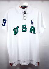Men's Ralph Lauren Polo Shirt USA Large Pony - White- Large -Custom Fit- NWT